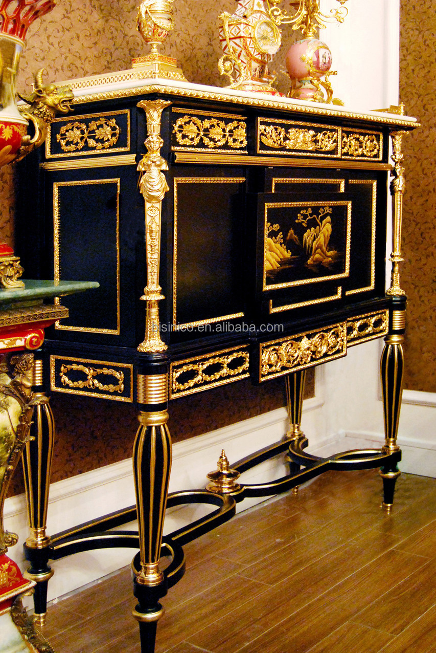 French louis xv style living room wooden cabinet with marble top antique reproduction brass for Living room in french language