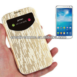 2-color Series Geometric Pattern Flip Leather Cover Plastic Case for Samsung Galaxy S IV / i9500