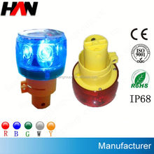 High power solar signal dual color led warning light (flashing or revolving)