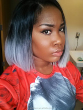 Fashion Grey Lace Front Wig, Ombre Natural Black/Silver Grey Short Bob Hair Wigs, soft and smooth full lace wig