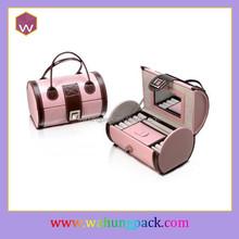 cute mdf wraps leather jewelry storage box, round leather jewelry box