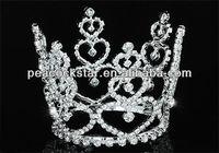 Wholesale Baby Bridal Wedding Heart Bride / Flower Girl Crystal Full Circle Round Mini Tiara Crown CT1708