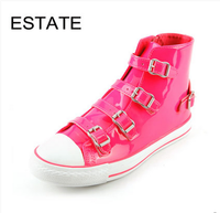 Brand Girls Cowhide Leather Shoes Women Fashion High Top Sneakers Flat Shoes Female Buckle Design Casual Shoes Zapatos Mujer