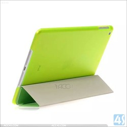 Three Folded Matte Leather Side Flip Stand Transparent PC+PU Leather Case for iPad 4