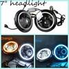 "China factory led headlight 7"" round led headlight 45w led high/low lumen with DRL, led headlight halo, jeep headlights led"