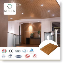 WPC/Wood PVC Interior Teak Wood Wall Panel or Panel Ceiling for Prefabricated Houses 159*10mm