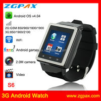 Hot selling L1 Black 1.54 inch HD Touch screen Hands Free Smart wrist Bluetooth Watch with Avoid Loss Function S6 ZGPAX