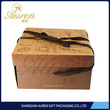 Eco-friendly kraft paper folding boxes for handmade cake pack China food safe