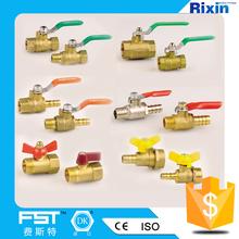 1/4 & 3/8 & 1/2 MF tipo água pequena latão e ar mini válvula de esfera barato pequeno válvula de esfera pneumática RX1156-MF