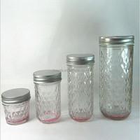 new product diamond wide mouth glass mason jar/glass jam jar with aluminum lid