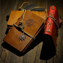 Vintage Regal Leather Blank Pages Notebook Diary Journal Memo Notepad leather cover a6 notepad