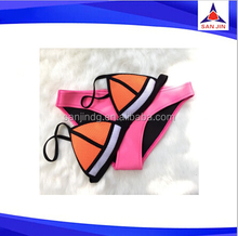Hot Selling Sexy Triangle Neoprene Bikini set Swimwear 2015 sexy girl micro neoprene swimwear models