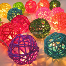 20 Rattan Balls Fairy String Lights Party Patio Holiday Wedding Bedroom Decor, party light decoration