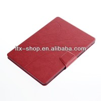 2013 Fashionable grain Design New arrival stand leather case for ipad air sleep wake cover for ipad5 with card holder