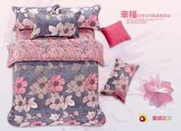 flesh flower style bedding set 80gsm mircofiber duvet cover flat sheet pillowcases