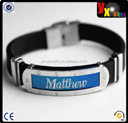 Mens Silicone & Blue Name Plate Engraved Bracelet-metal snap joint bracelet