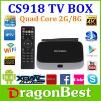 CS918 Quad Core RK3188 Tv Box Android 4.4 Bluetooth 4.0 Android TV Box Android 4.4 Mini Box Bluethooth Wifi 8G ROM