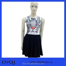 Ladies cotton print dresses,tiger pattern sexy dress, fashion hot girls without dress ladies girl