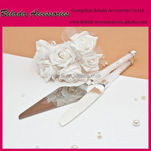 Wedding Cake tools wedding cake server set Stainless Steel Wedding Party Cake Knife and Server Set in clear stone handle