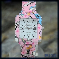 American christmas gift for children 12 colors cartoon pattern square dial cute design alloy metal watchband fashion kids watch