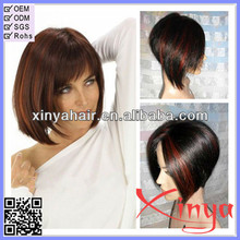 New arrival short style straight full lace wig Mix color bob style human hair wig