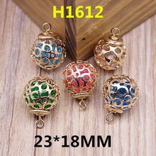 Hollow Rounded Metal Ball Pendant With Crystals,Tiny Jewelry Earring/Bracelet Charms
