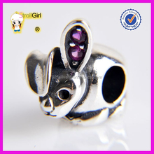 Cute Rabbit Animal Charm with Rhinestone 925 Sterling Silver Charm Beads Wholesale