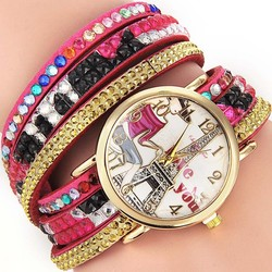 2016 new product Vintage diamond leather quartz Bracelet Watch wrist women watches