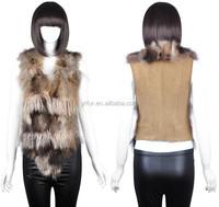 YR859 wholesale yarn and raccoon fur vest