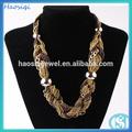 de oro de la moda de la resina de acrílico arroz cuentas collares de cadena larga