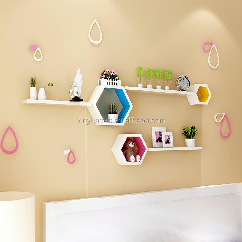 New Fashion Decorative Home Decor Hexagon Design Wooden Floating ...