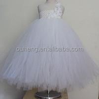 White Flower Girl Tutu Dress One Shoulder Dresses