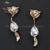 Fancy jewelry 18k gold plated high-end fox shaped cute animal stud earrings