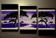 Handmade Purple Backgroud Scenery Oil Painting For Wall Decoration HT6692