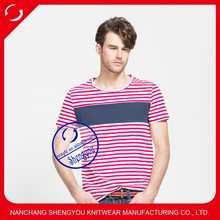 China manufacturing custom cotton stripe mens o-neck t-shirts