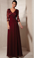 New Middle Aged Women Fashion Dress Sheath V-neck Lace Appliqued Beaded Half Sleeve Burgundy Chiffon Evening Dresses