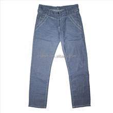 Stock lots of Coated denim Men's trousers in light blue wash