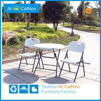 Portable mini camping round plastic folding table and chair