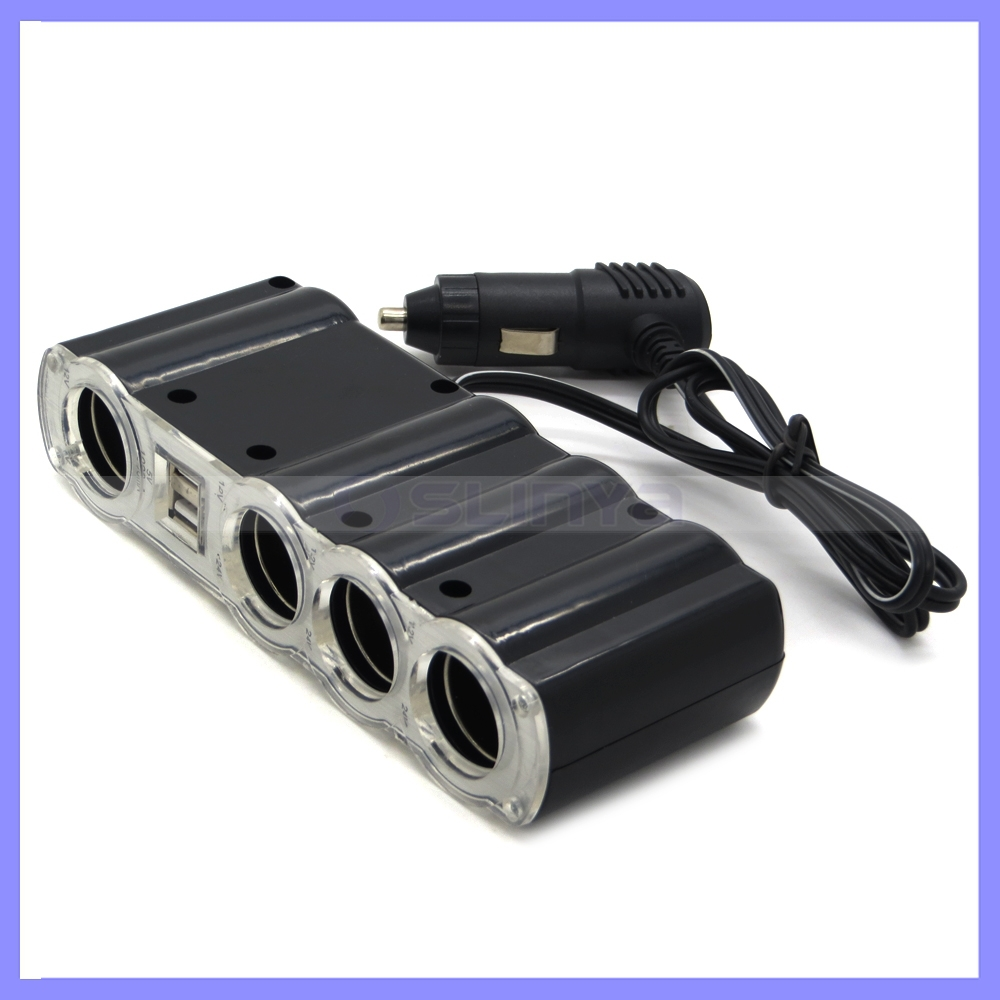 Multiple Usb Port Car Charger: 12V 1A Multi- Port USB Universal Car Cigarette Charger