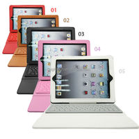 PU Leather Stand Case Cover With Waterproof Silicone Wireless Bluetooth Keyboard for IPAD2/3/4