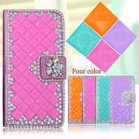 Full glitter rhinestone diamond crystal case for moto x force , bling pu leather wallet case for moto x force