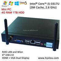 Fashion i5 Intel Mini ITX PC HTPC Case 3317u Dual Core 1TB HDD DDR3 4GB RAM HD4400 With WiFi 6*USB UHD 4K Win8/Linux