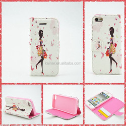 Angel and Butterfly Color Pattern PU leather Case for iPhone 5s