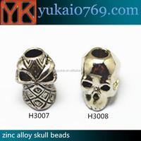 Yukai metal skull beads for bracelet,flat metal beads,skull beads for paracord