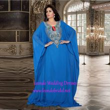 Hot Sale Muslim Abaya Kaftan Blue With Beaded Long Evening Gown Arabic Abaya Chiffon Dress for Women