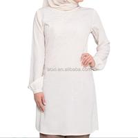 Custom white long sleeve islamic fashion design muslim women clothing