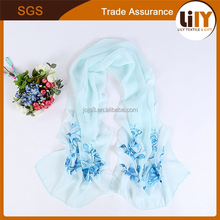 2015 manufactory wholesale cheap scarf Joker chiffon scarf femininity blue leaves printing silk scarf