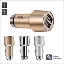 Safety Hammer Function 3.1Amp Alloy Case 2 Usb Car Charger Adapter Portable Cigarette Lighter Plug for Smartphone, Tablet