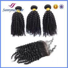 100% unprocessed kinky curly hair bundles and closures virgin Peruvian human hair extensions