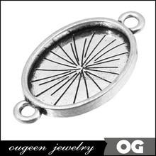 Nickle & Lead free Antique Silver Oval shape Zinc Alloy rhinestone claw setting neck metal garment accessories